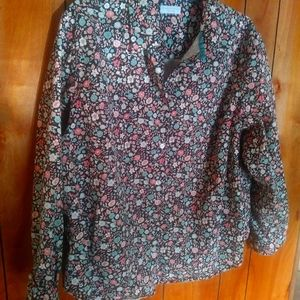 Charter Club floral collar blouse shirt